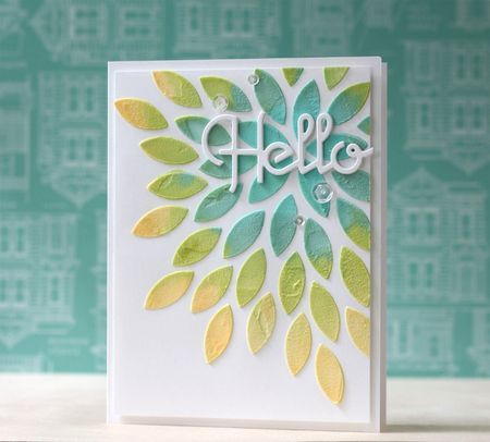 Make It Monday #176: Backgrounds With Embossing Paste - Hello Card by Laura Bassen for Papertrey Ink (August 2014)