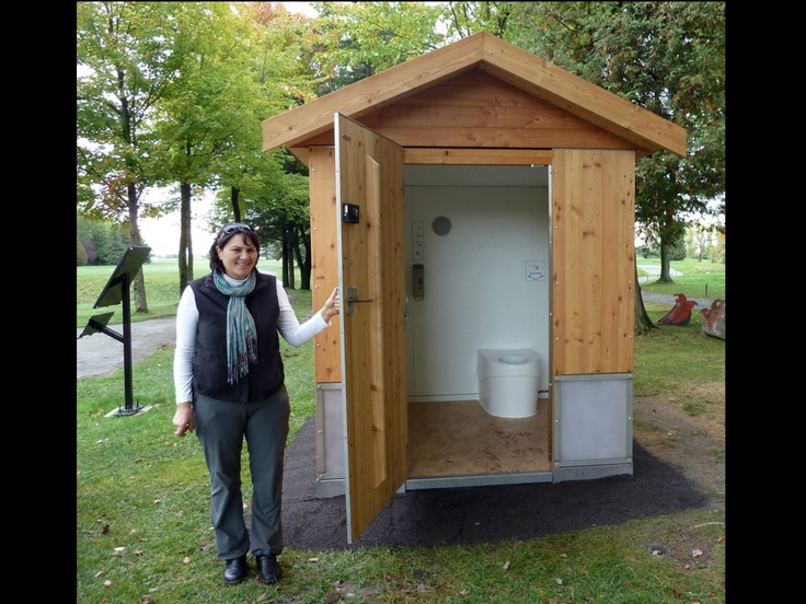 Outdoor toilet off the wall pinterest toilets for Outhouse bathroom ideas