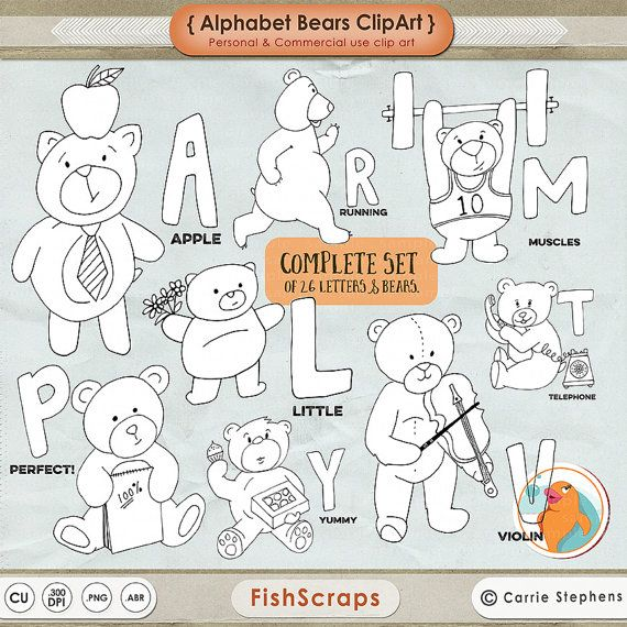 Bear Line Art  Alphabet Bears Outline ClipArt  A to by FishScraps