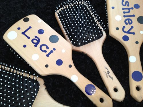 If decorating paddles is considered hazing we can decorate paddle brushes instead! Paddle Brushes Decorated with Vinyl