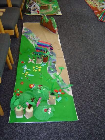 The Three Billy Goats Gruff small world playscape.