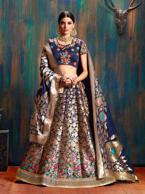 86129741d7 Mystical navy blue partywear lehenga choli online for women which is  crafted from banarasi silk fabric