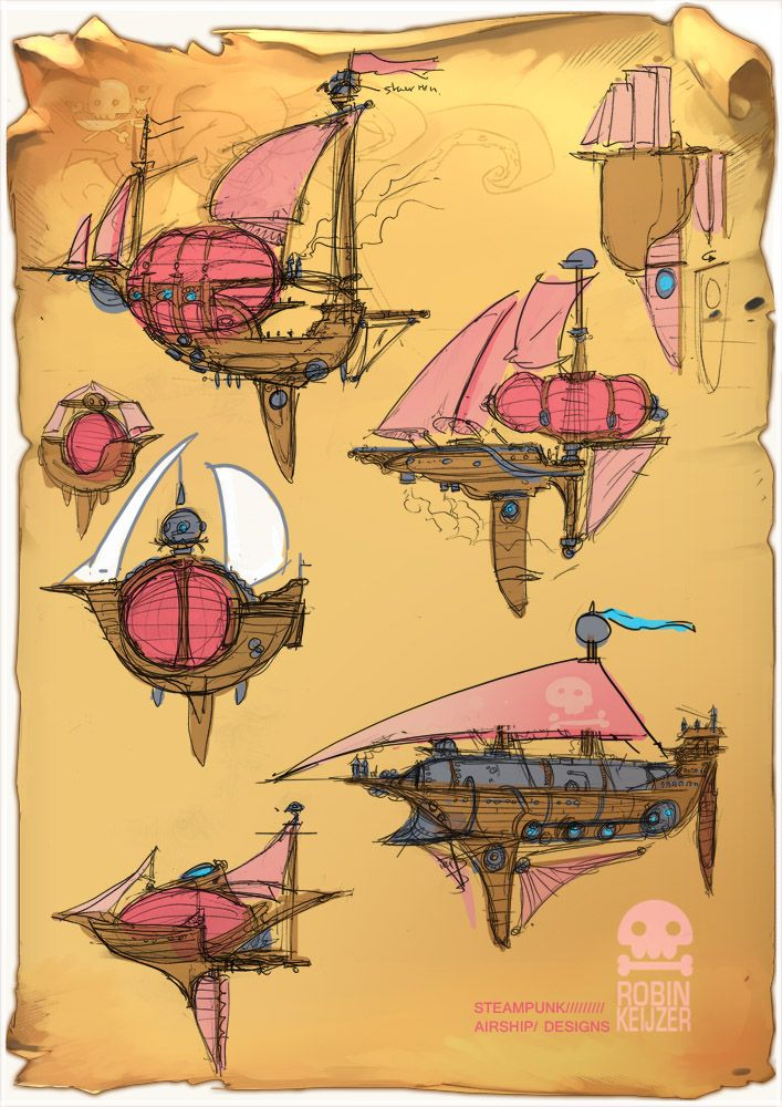Some sketches from ..2006, that I never posted here. These were designs for a ship that would play a big part in the comic 'six chambers of fortune'. ...indeed, that comic never got finished But so...