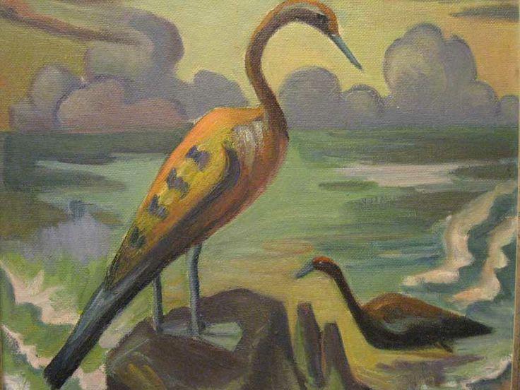 maggie laubser | Maggie Laubser (1886 - 1973) Oil Cormorants Signed 43 x 50