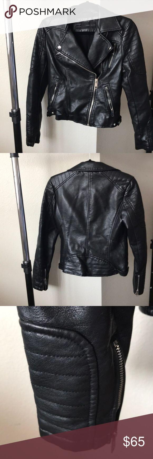 ZARA Black Faux Leather Moto Jacket ZARA black leather
