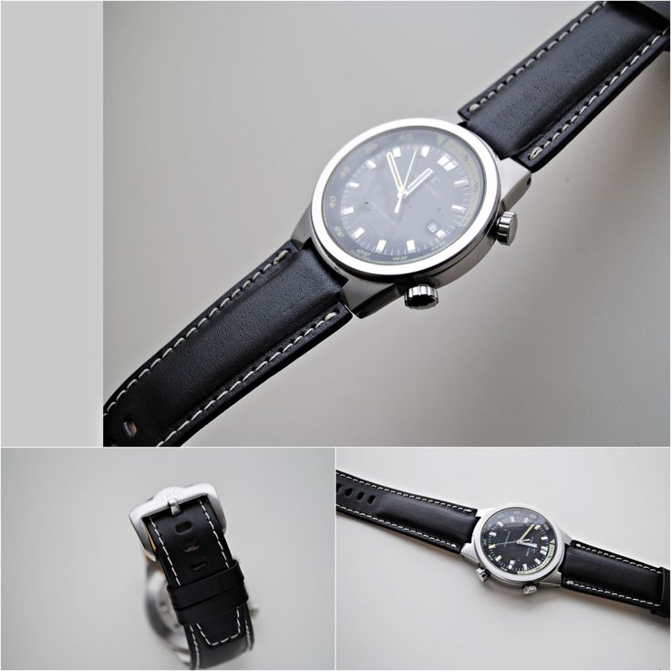 IWC Black Calfskin Custom Made Watch Strap - More sizes and colors available - On Order by ChristianStraps on Etsy