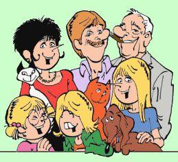 De familie bestaat uit vader Jan, moeder Jans, de dochters Karlijn en Catootje en nakomertje Gertje. Het huisgezin wordt gecompleteerd door De Rode Kater, Lotje de teckel en de Siamese poes Loedertje. Daarnaast spelen ook onder meer Jeroen, het vriendje van Catootje, nicht Hanna (een bewust ongehuwde moeder), opa Gerrit (de vader van Jan), en opa's vriendin Moeps een rol in de verhalen. Naast de wekelijkse strip in Libelle zijn er door de jaren ook 54 albums uitgebracht