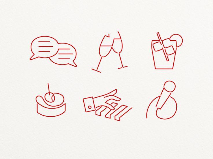 Evening Program Icons by Oliver Rothenhäusler #icondesign #outline #disconnected