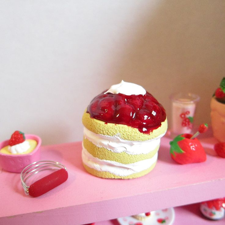 Miniature Strawberry Shortcake Dessert Polymer Clay Cake