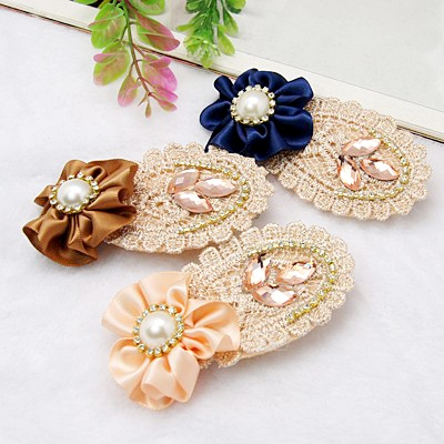 Fashion Iron Flat Alligator Hair Clips, with Glass Rhinestone and Cloth, Mixed Color