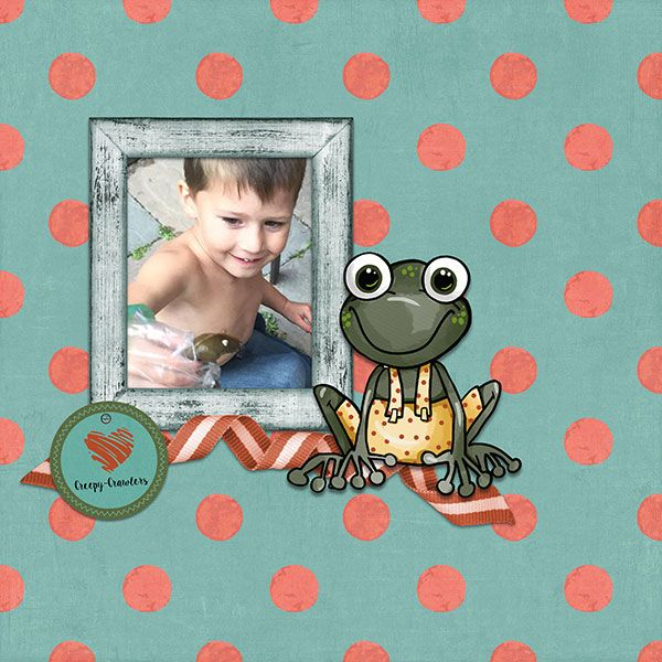 Most boys are fascinated with creepy-crawlers. I used these whimsical elements and paper to show his delight!