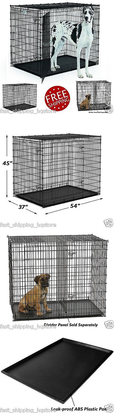 Cages and Crates 121851: Xxl Dog Crate 54 Kennel Double Door Large Dogs Pet Metal Cage Leak Proof Pan BUY IT NOW ONLY: $179.82