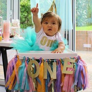 Cute first birthday highchair decoration