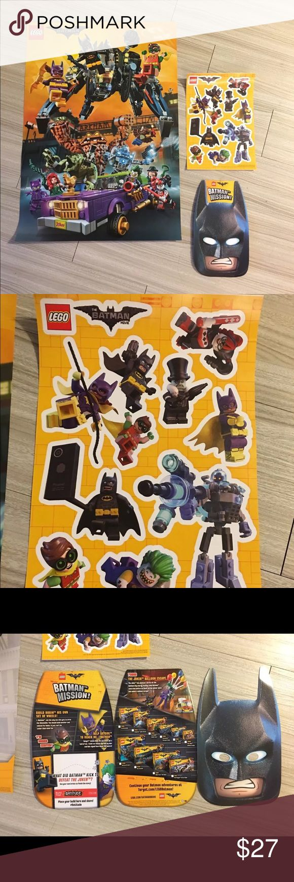 Lego Batman exclusive promotional event for sale is a brand-new three-piece promotional set from the Lego Batman movie.   On 2/18/17 Target stores nationwide did an event, go into the store for a scavenger hunt about the Lego Batman movie. Upon completion of the hunt, you had a chance to receive these cool, lego batman movie exclusive items!! while supplies last.  In this listing you will receive a double sided poster, one sheet of stickers, and the flyer that target handed out.  The item…