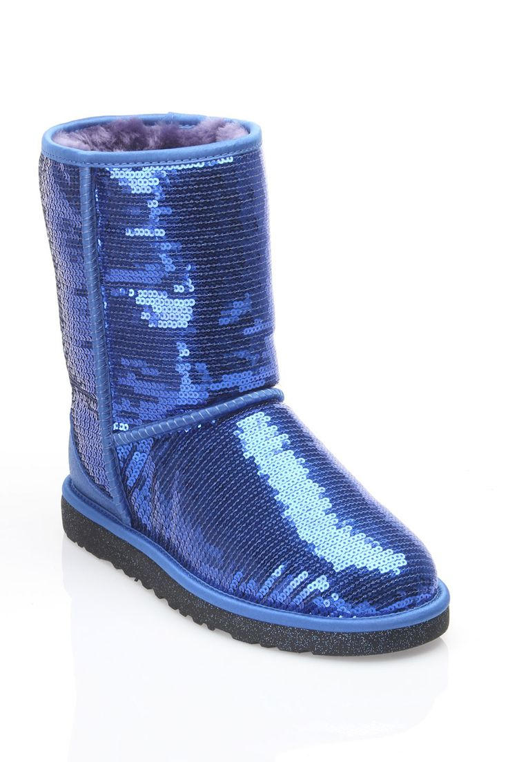 Ugg ladies classic short sparkles boot in blue beyond the rack