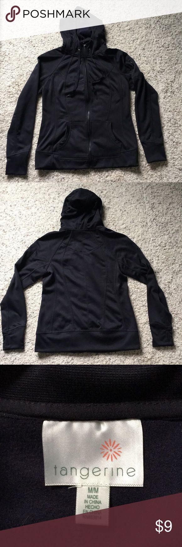 Black zip up hoodie Full zip hooded sweatshirt. Worn once Tangerine Tops Sweatshirts & Hoodies