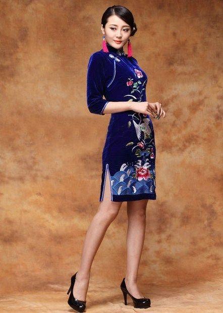 e75035709 Blue folk embroidered silk velvet qipao 3 quarter sleeve Chinese cheongsam  dress (3 colors) – Modern Qipao