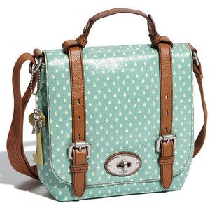 Light blue with white polka dots: Fossil purse