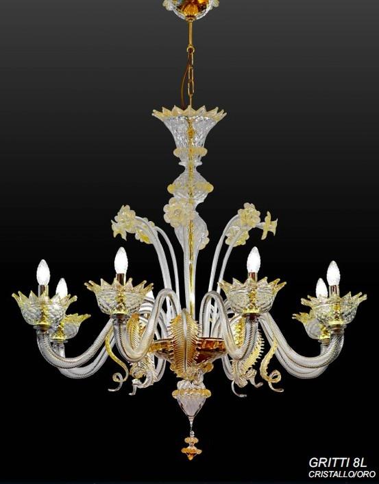 Lampara de murano color dorado modelo gritti de 8 luces - Lamparas diseno italiano ...