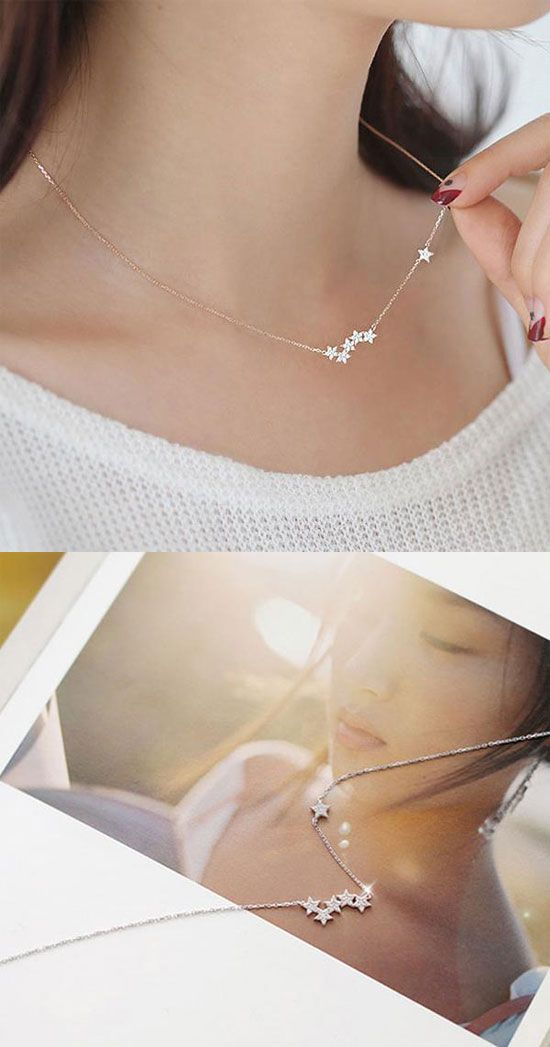 a46bb568113 Fashion Women's Pentagon Stars Clavicle Chain Short Gold-plated Multilayer  Necklace for big sale!