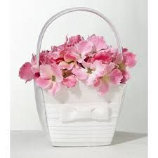 Lillian Rose Collection pleated white flower girl basket. Sold at Second I Do's
