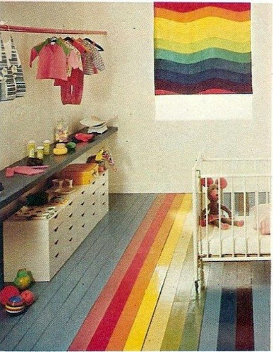 Everything old is new again. Ohdeedoh brings us this gem that's so right now from a Better Homes and Gardens from the mid 1970s. I ADORE that floor. #rainbow #floor #painted_wooden_floor