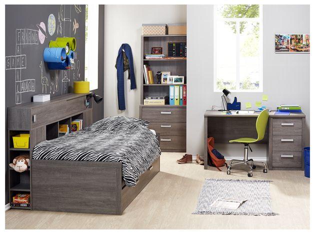 Thibo, une chambre complète et tendance ! Le lit est un meuble tout en un avec lit d'appoint. Combiné au bureau et à la garde-robe, cela donne un bel ensemble. #Chambreàcoucher #Collishop #Lit #Bureau #Garderobe