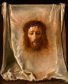 """The Veil of Veronica, or Sudarium (Latin for sweat-cloth), often called simply """"The Veronica"""" and known in Italian as the Volto Santo or Holy Face (but not to be confused with the carved crucifix Volto Santo of Lucca) is a Catholic relic, which, according to legend, bears the likeness of the Face of Jesus not made by human hand (i.e. an Acheiropoieton)"""