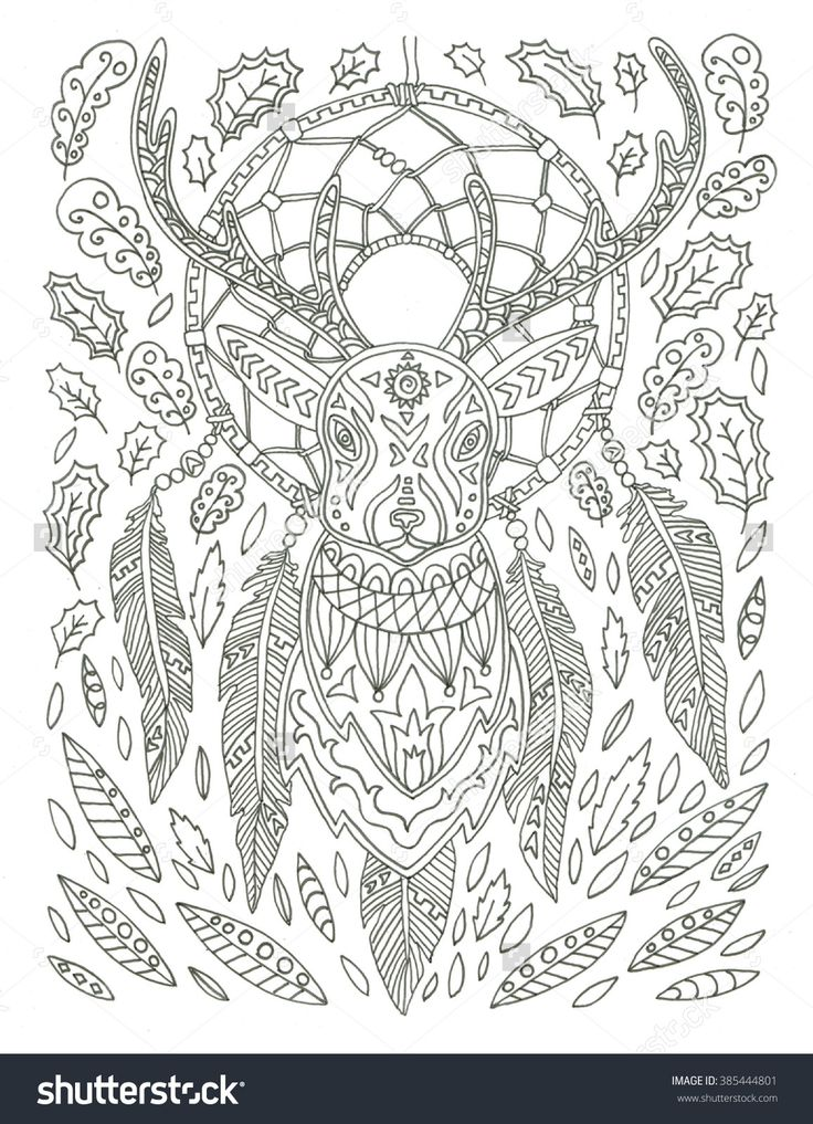 Dream catcher with deer coloring page 385444801 for Deer coloring pages for adults