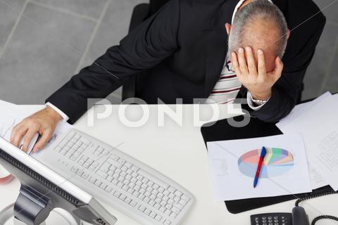 Businessman With Hand On Head At Desk Stock Photos Ad Head Hand Businessman Photos Hand On Head Graphic Design Portfolio Layout Business Man