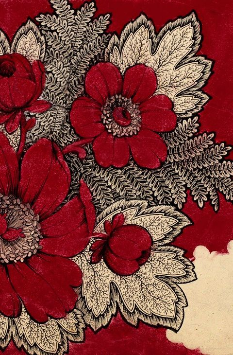 - Antique Red and Cream Textile - A vibrant antique French textile pattern made for a 'Foulard' fabric and marked 1865.
