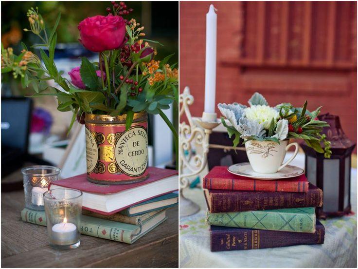Decoração com Livros Casamento Rústico   Book Decor for Wedding http://blogdamariafernanda.com/decoracao-com-livros