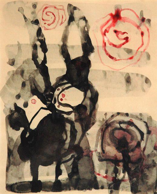 L'idole aux signes, 1950, by Paul-Émile Borduas. Follow the biggest painting board on Pinterest: www.pinterest.com/atelierbeauvoir