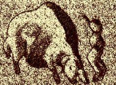roc-de-sers przerys reliefu przedstawiającego człowieka uciekającego przed piżmowołem