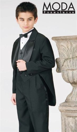 TuxedosOnline.Com has a sale on Boys BLACK TAIL COAT 5-Piece Tuxedo Set! Great for any formal event! for only 19.99