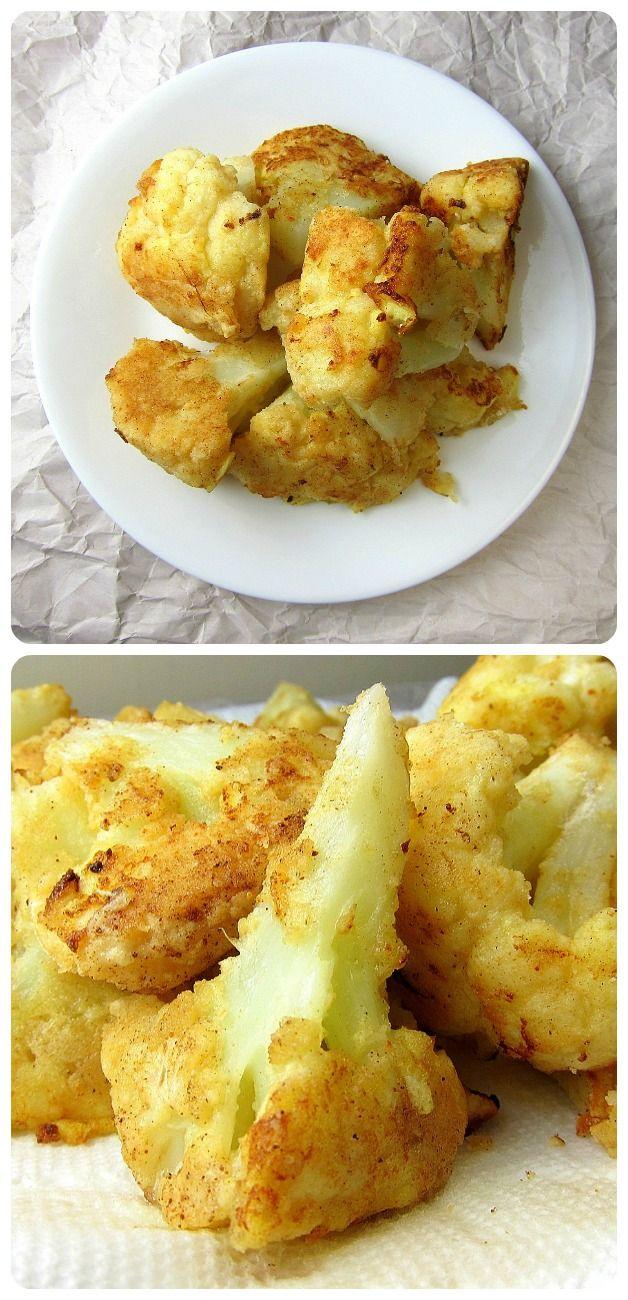 Pan Fried Cauliflower Florets - healthy, crispy, delicious.  http://www.babaganosh.org/pan-fried-cauliflower-florets/