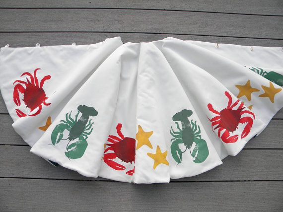 "LIMITED EDITION Lobster crab sea star 54"" Christmas tree skirt East Coast beach starfish shelling Blue Crab lobstah Crabby Chris Original"