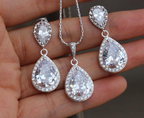 clear cubic zirconia bridal wedding set wedding by arbjewelry
