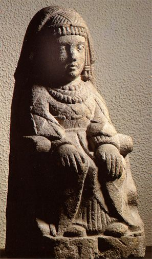 """Seated lady from Cerro de los Santos  (another site with a sacred name:  """"Hill of the Holy Ones""""). Albacete."""