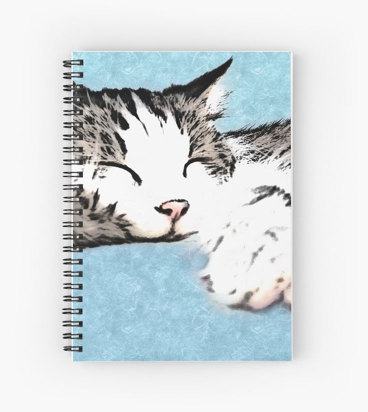 Spiral notebook with a graphic illustration of an adorable long haired tabby cat sleeping with her cute pink paws stretched out wide. • Also buy this artwork on stationery, apparel, stickers, and more.