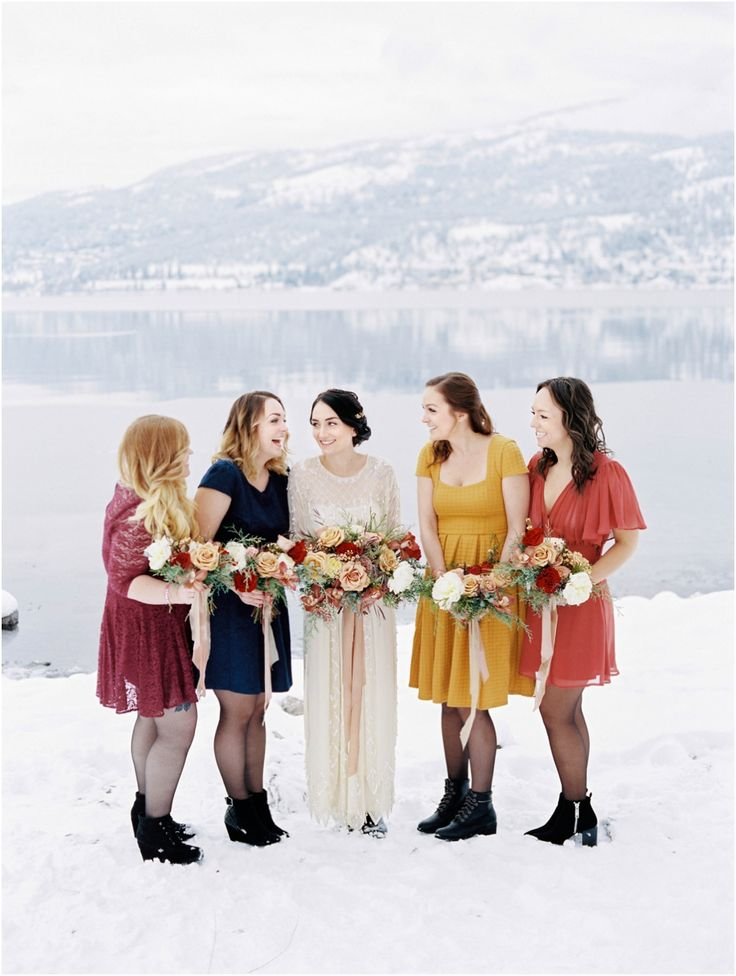 Winter Wedding mismatched bridesmaids dresses. Shop Gossamer wedding dress  Jenna Hill Photography Vancouver Wedding Photographer