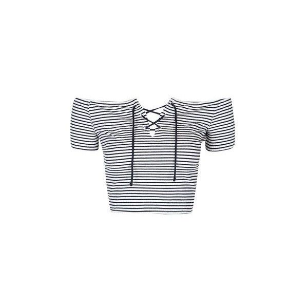 TopShop Petite Stripe Tie Bardot Crop (£14) ❤ liked on Polyvore featuring tops, navy blue, strappy top, tall tops, off shoulder tops, navy blue off the shoulder top and navy tops
