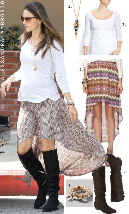 Dress By Number Alessandra Ambrosios High Low Skirt And Boots The Budget
