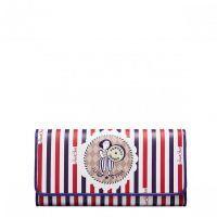 JUST STAR długi składany portfel ze skóry z cyrkowym nadrukiem -  Purpurowy