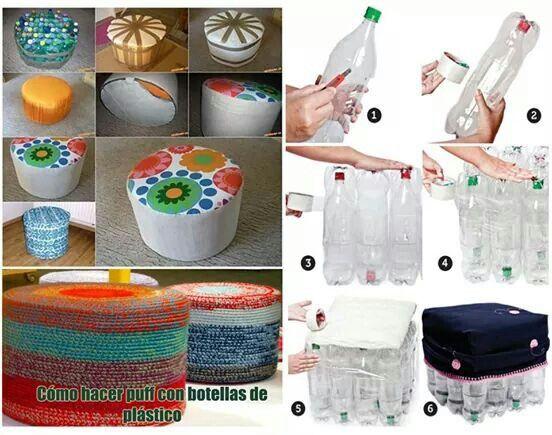 Puf hecho con botellas de plastico. Reciclado.  Ideas ...
