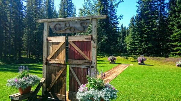 Beautiful Wedding Doorway and Aisle. Constructed for Summer 2015 Wedding using Douglas Fir from the barn located near Strathmore, Alberta. Contact us today for your own custom wedding/event feature! www.greenlightindustries.ca
