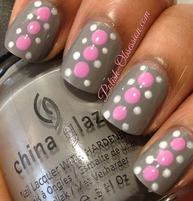 Gray, pink and white | See more nail designs at http://www.nailsss.com/nail-styles-2014/