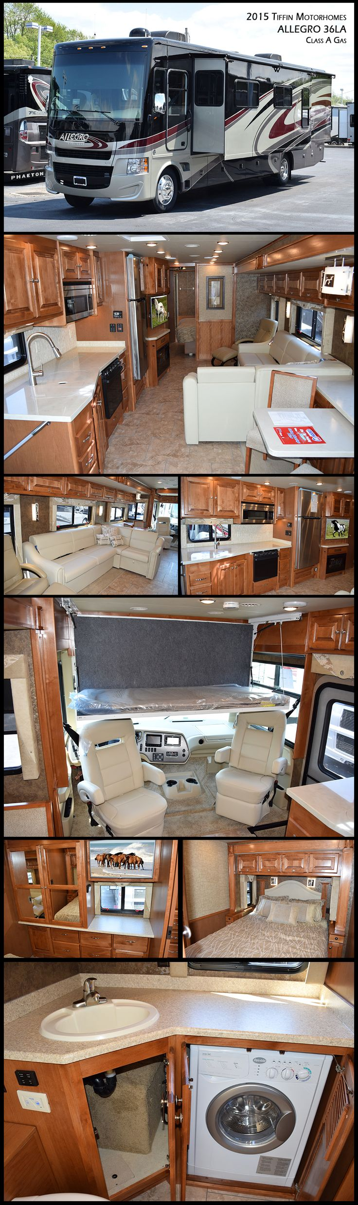 The 2015 Tiffin Motorhomes Allegro 36LA Gas motor coach continues to be a real crowd-pleaser and continually scores high in comfort and design. In addition to the chaise sofa bed in the living area, this coach has a drop down bunk above the front cab. Come aboard and see why the Allegro 36LA has been a part of so many lives for so long.
