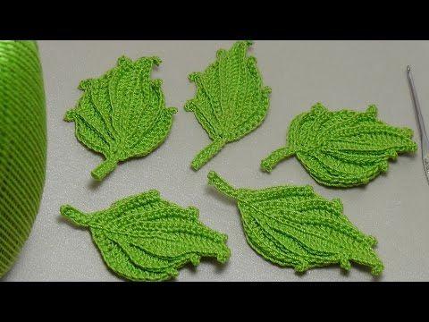 Вязание листика крючком. Красивый объёмный листик крючком. Easy To Crochet Leaf - YouTube
