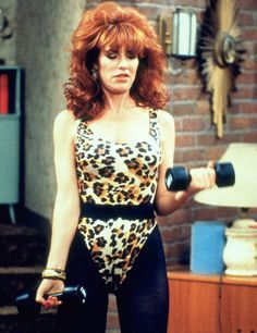 Peg Bundy 90′s big hair leopard workout athleisure diva